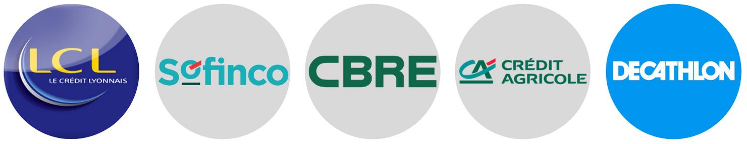 Logos partenaires de l'entreprise Ouaret Batiment, LCL, Sofinco, CBRE, Credit Agricole, Decathlon